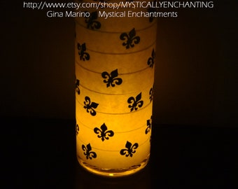 SALE Halloween candle holder lantern Fleur de lis