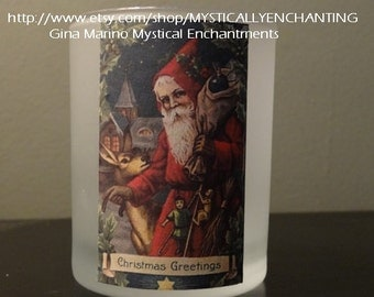 Victorian style Christmas Candle holder santa or tabby