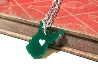 West Virginia Love Necklace - Marshall University - Green with White Heart