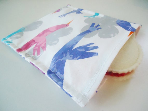 Eco Friendly Reusable Sandwich Bag - Birds and Clouds -