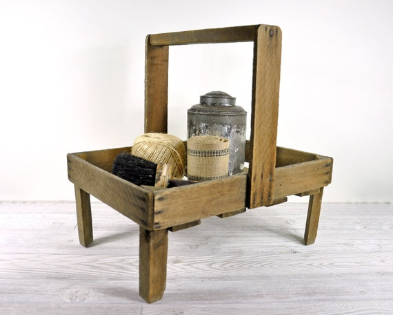 Vintage Footed Wood Berry Carrier / Industrial Decor