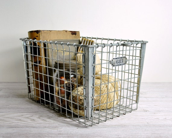 Vintage Metal Locker Basket / Industrial Storage
