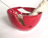 Red Ceramic Yarn Bowl, Yarn Holder, Crochet, Knitting, Modern Handmade Wheel thrown POTTERY Twisted Leaf, IN STOCK