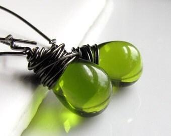 Olive Green Czech Glass Earrings, Dark Gunmetal Wrapped Teardrop Earrings, Moss