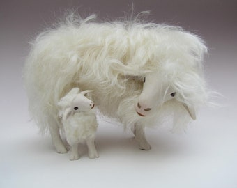 Italian Porcelain Sarda Sheep Looking Down at Lamb