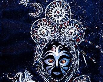 The Sorceress- bead embroidery- mixed media art- handmade bead art- sculptural bead art- art object- tribal art- wall art- home decor- gift