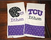 Embroidered Texas Christian University (TCU) Burp Cloth - Monogrammed and Personalized