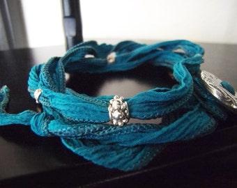 Yoga Wrap Bracelet - Adjustable Bracelet - Sport Bracelet - Reef - Turquoise - Yoga Lover - Lightweight Bracelet - Fabric Bracelet #6-001
