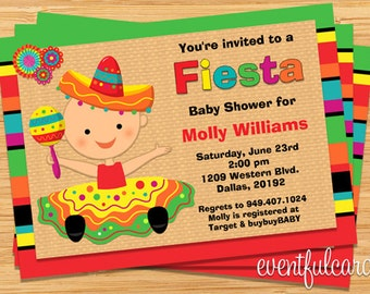 Fiesta Baby Shower Invitation for Girl (Also Available in Boy)