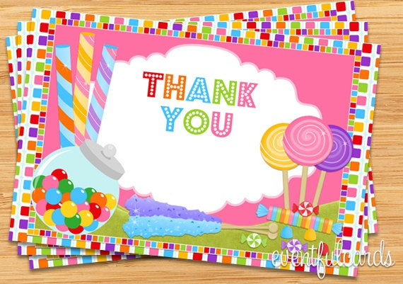 Candy Birthday Party Thank You Card 4x6