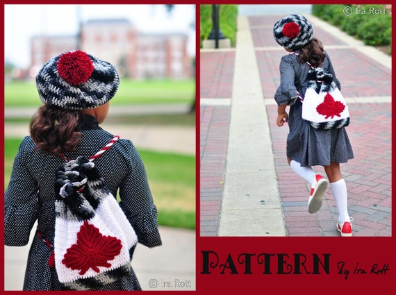 PATTERN - Maple Leaf Backpack & Beret-  Crochet PDF Pattern