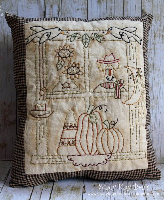 Handmade Primitive Fall/Halloween Window  Pillow