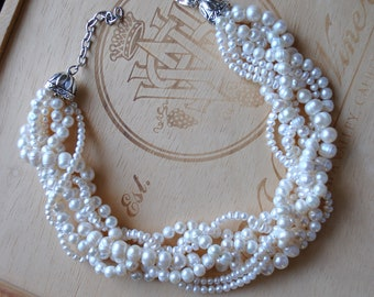 White Freshwater Pearl Chunky Twist Statement Necklace-made to order