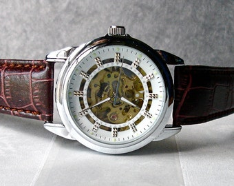 Mechanical Wrist Watch Skeleton Silver Art Deco Brown Leather Vintage Women Men Birthday Anniversary Father's Day SALE free Deluxe gift box