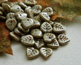 Leaf Beads Czech Glass Heart Leaf Beads Opaque Grey Beige & Light Brown Speckled Metallic  Picasso Lustered 9mm (50pcs) NEW