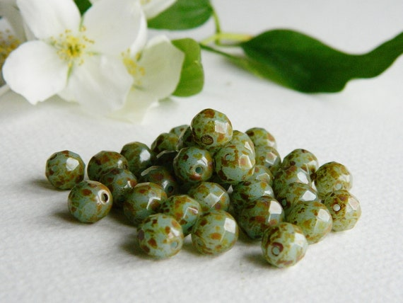 Czech Glass Beads, Fire Polished  Round Beads, 8mm, Chrysoprase Opal with Earthy Brown Picasso (12pcs)