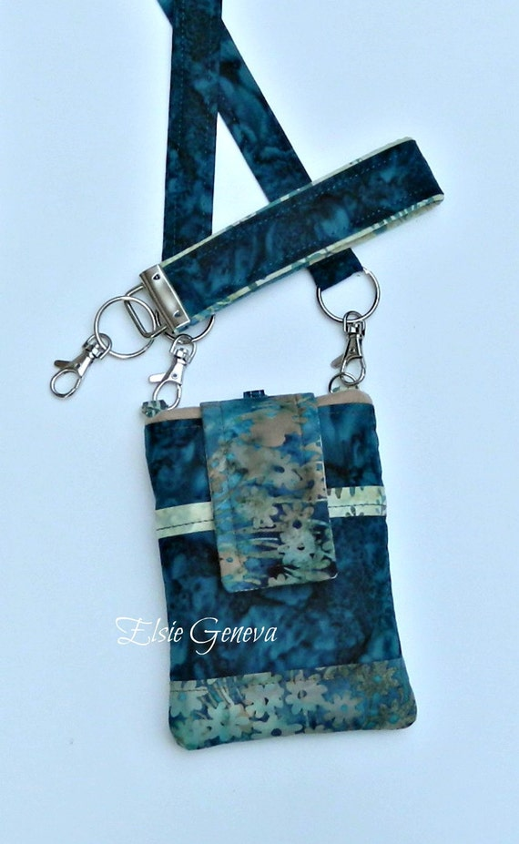 Choose Any Fabric or Teal Batik Phone Case Satchel Wristlet Back Zipper Pocket iPhone 4 5 6 Plus Note