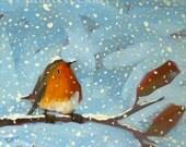 Robin on Leafy Branch on Snowy Day no. 3 print by Angela Moulton prattcreekart 10 x 10 inches