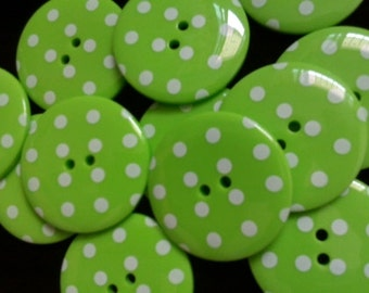 10 pcs Cute Retro Style Buttons 33 mm Green Color