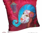 Hand painted silk  pillow case Carnaval mask