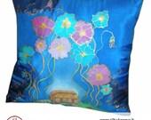 Blue Hand painted silk pillow case