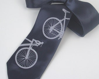 Silkscreened Bicycle Tie - Men's Neck Tie - Microfiber Necktie - Gift Wrapped