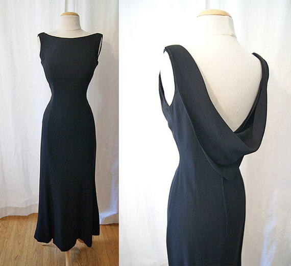 Sexy 1950's black crepe floor length formal gown with  fish tail  hem and gorgeous shawl back bombshell chic - size Small to Medium