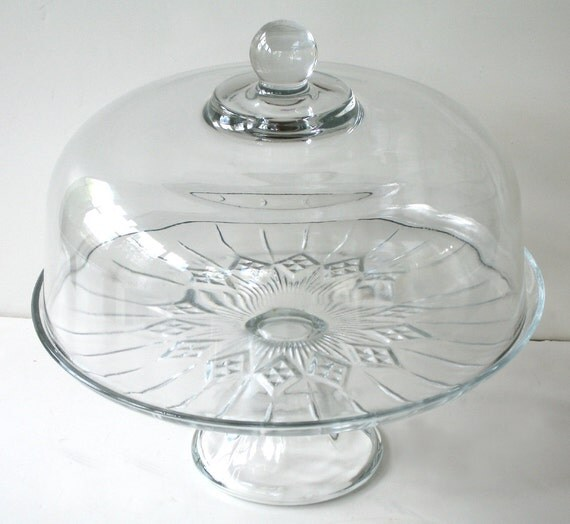 Clear Glass Cake Stand With Dome Vintage Dessert Serving