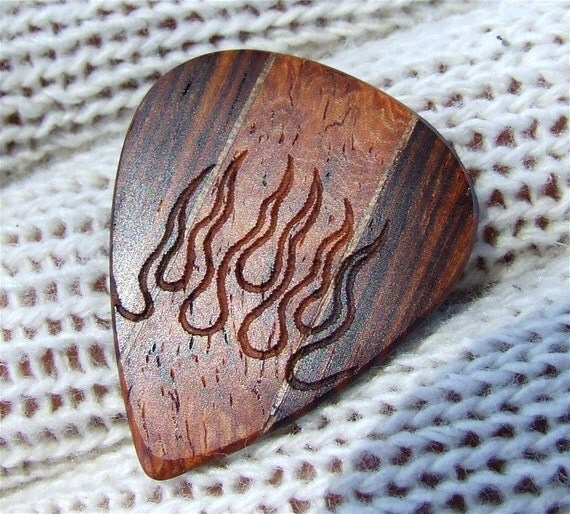 Handmade Laser Engraved Premium Wood Guitar Pick - Hot Rod Flames