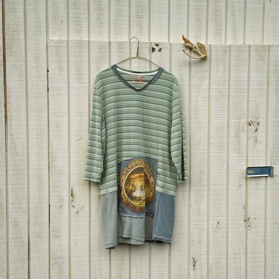 med - xlarge - tshirt dress / eco dress / jersey knit  / funky upcycled clothing / tattered dress / casual dress / boho mini dress