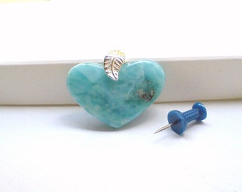 Larimar heart pendant  Turquoise heart blue jewelry