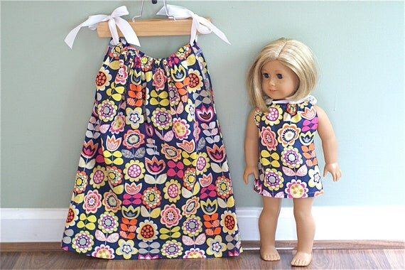 Matching American Girl Pillow Case Dresses for Girl and Doll. SALE 20% OFF. Flower Power. Sizes 3T