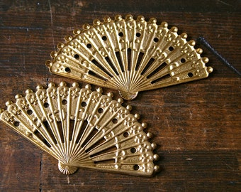 SALE Metal Asian Fan charms Large oriental style Brass openwork Fans for Jewelry making Scrapbooking, Collage, Assemblage Supplies 10 pcs