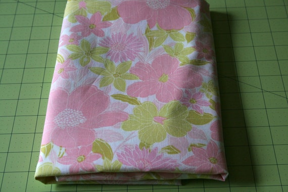 Vintage Reclaimed Fabric bed sheet linen lime green Pink retro Tropical bloom Spring Summer fashion quilting apparel Fabric Extra Wide
