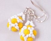 "PDF beading pattern, Intermediate 3D earrings beading tutorial, beadweaving tutorial ""Summer flowers"""