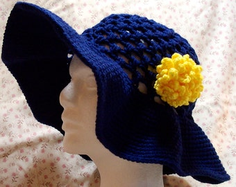 Soft Navy Blue Crocheted Floppy Sun Hat