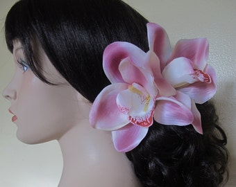 Hawaiian Dusty Pink Two Orchids hair flower clip - Weddings - 6.5 inches