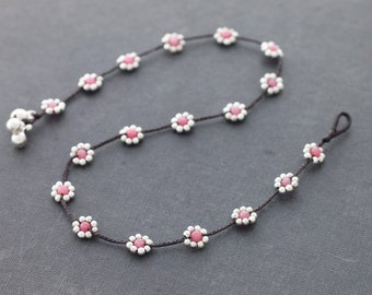 Daisy Rose Quartz  Silver Necklace