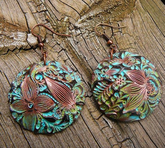 Flower doodle polymer clay earrings