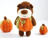 RESERVED for Elizabeth, Felted pumpkin bear