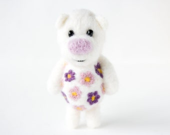 Little white flower pocket bear with a blossoming belly 33