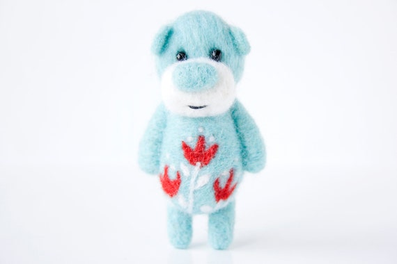 Light blue bear with bright red tulips 3