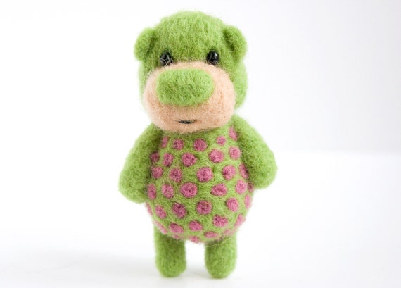 Light green pocket bear with violet polka dots