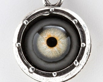 Silver Steampunk Evil-Eye  Necklace Porthole ( green human glass eye) Made in NYC