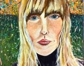 Joni,  acrylic portrait on wood, Joni Mitchell music, songwriter, flowers, grass,decor, small painting