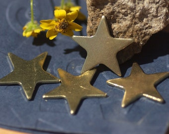 Brass Stars Blank 17mm for Metalworking Stamping Texturing Soldering Blanks - 6 pieces