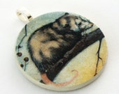 Pendant, Opossum, Handmade Decoupaged, Free Shipping, Retropage, Unique Gift, Handmade Necklace