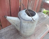Large, Rustic, Primitive Galvanized Tin Watering Can, Flower Planter for the Patio, Farmhouse Decor