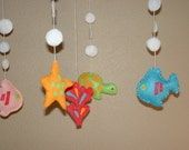 Baby Crib Mobile, Baby Mobile, Fish, turtle, coral, starfish and bubbles Nursery Mobile