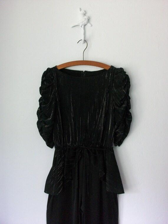 70s Black Jumpsuit // Vintage 1970s Peplum Pantsuit // Metallic Sparkle // Small